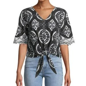 NWT Free Generation Embroidered Tie Front Top